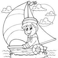 Marinero en un barco de vela
