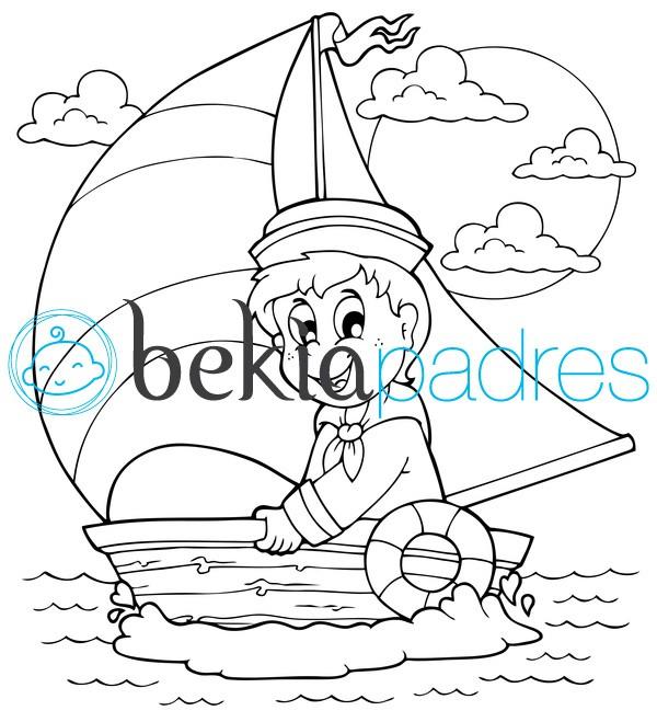 Marinero En Un Barco De Vela Dibujo Para Colorear