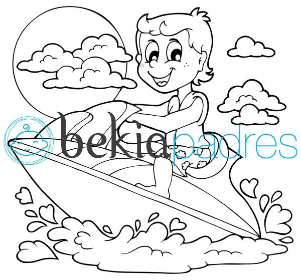 Niño en una moto acuática para colorear