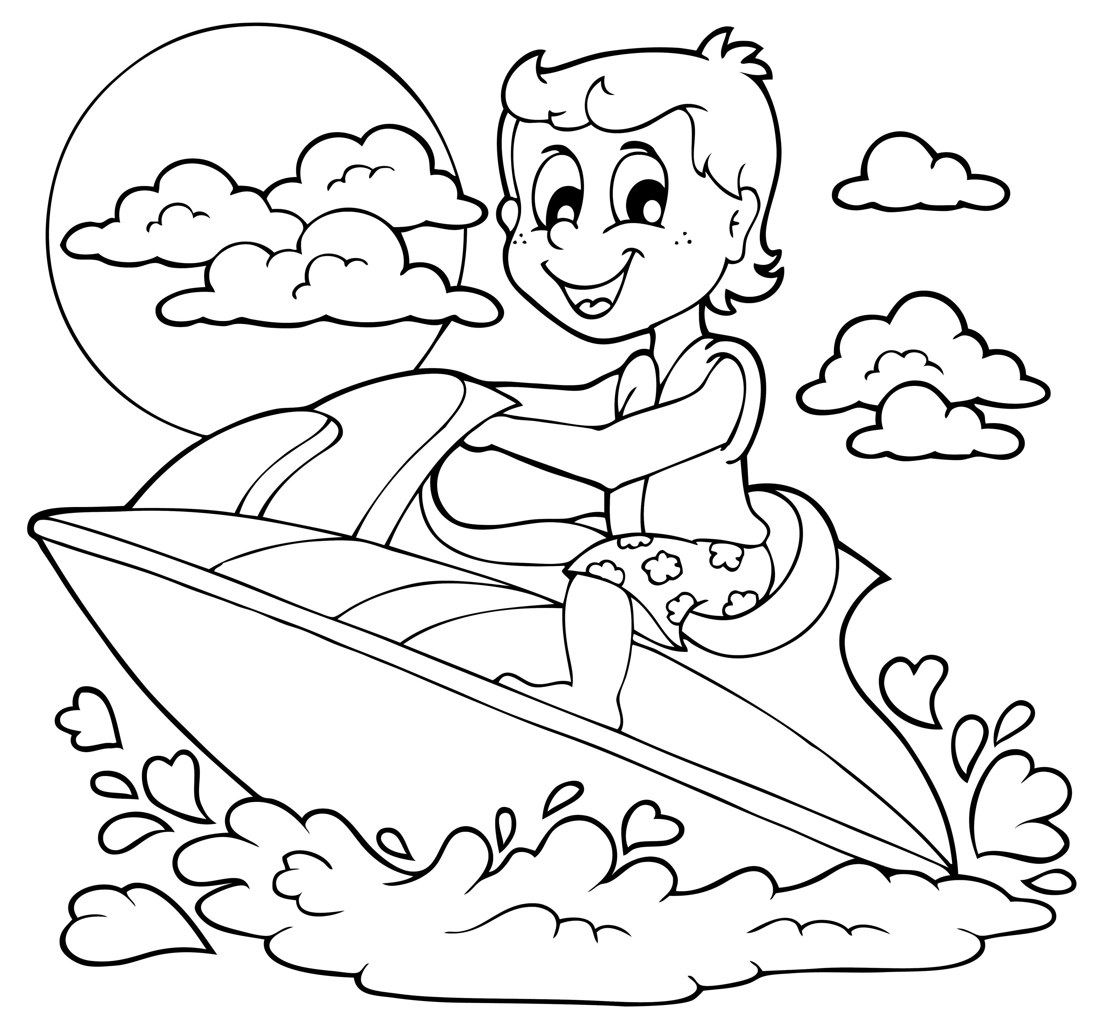 Niño en una moto acuática