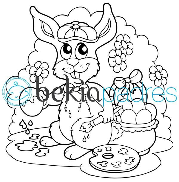 Conejo de pascua para colorear