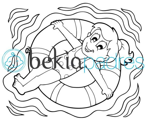 Niña en un flotador: dibujo para colorear