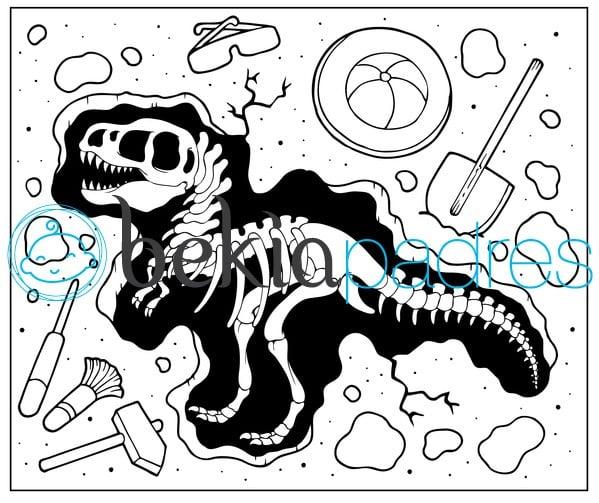 Dinosaurio fosilizado para colorear