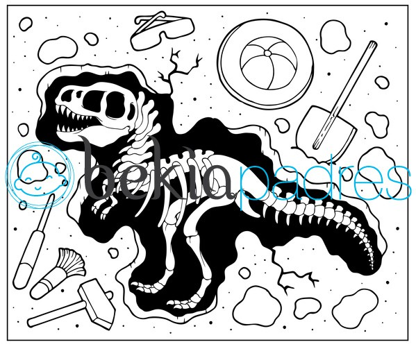 Dinosaurio fosilizado: dibujo para colorear