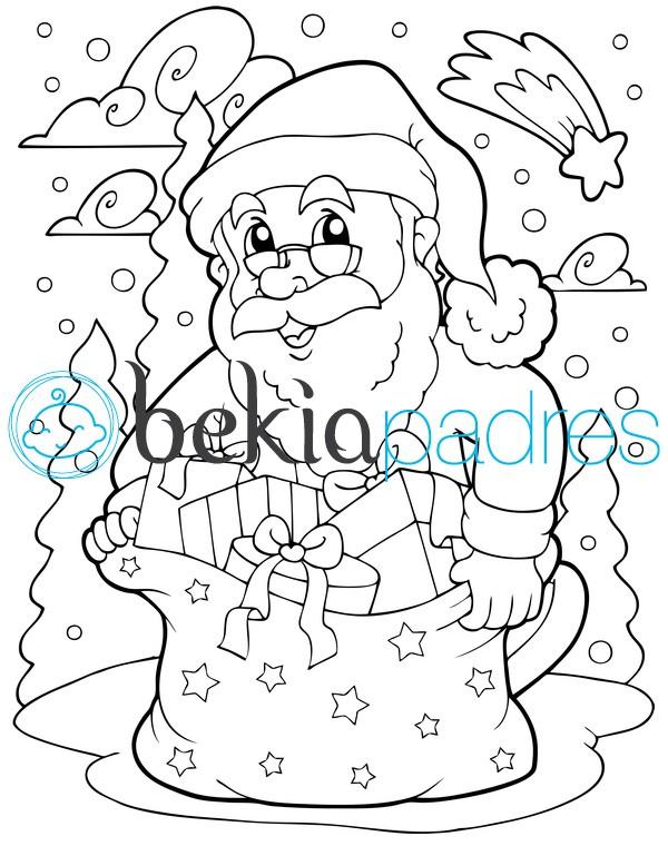Papá Noel bajo la nieve para colorear