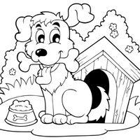 Perro en su caseta