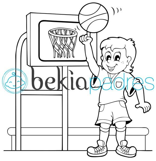 Niño jugando al baloncesto para colorear