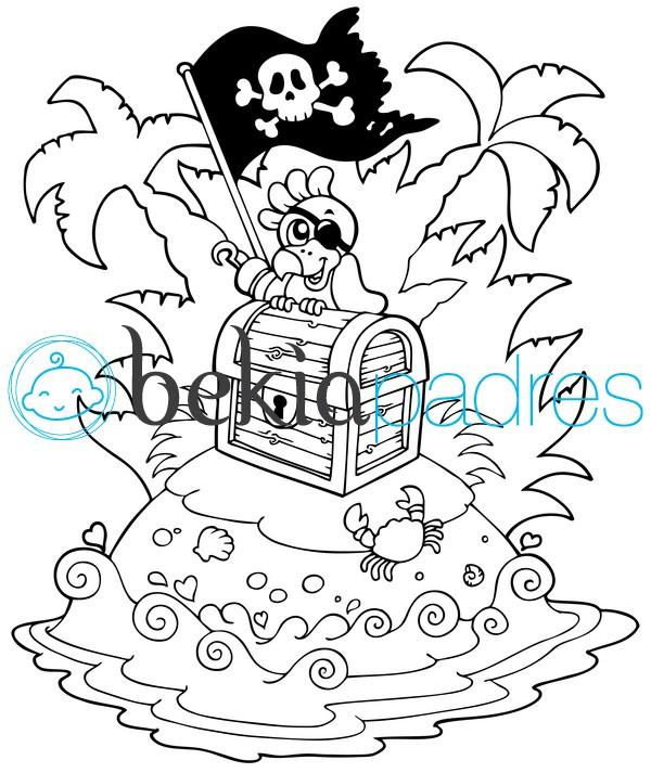 Loro pirata: dibujo para colorear