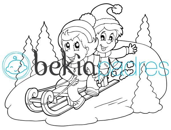 Niños en trineo en la nieve para colorear