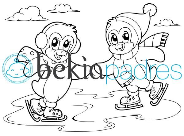Pingüinos patinando: dibujo para colorear