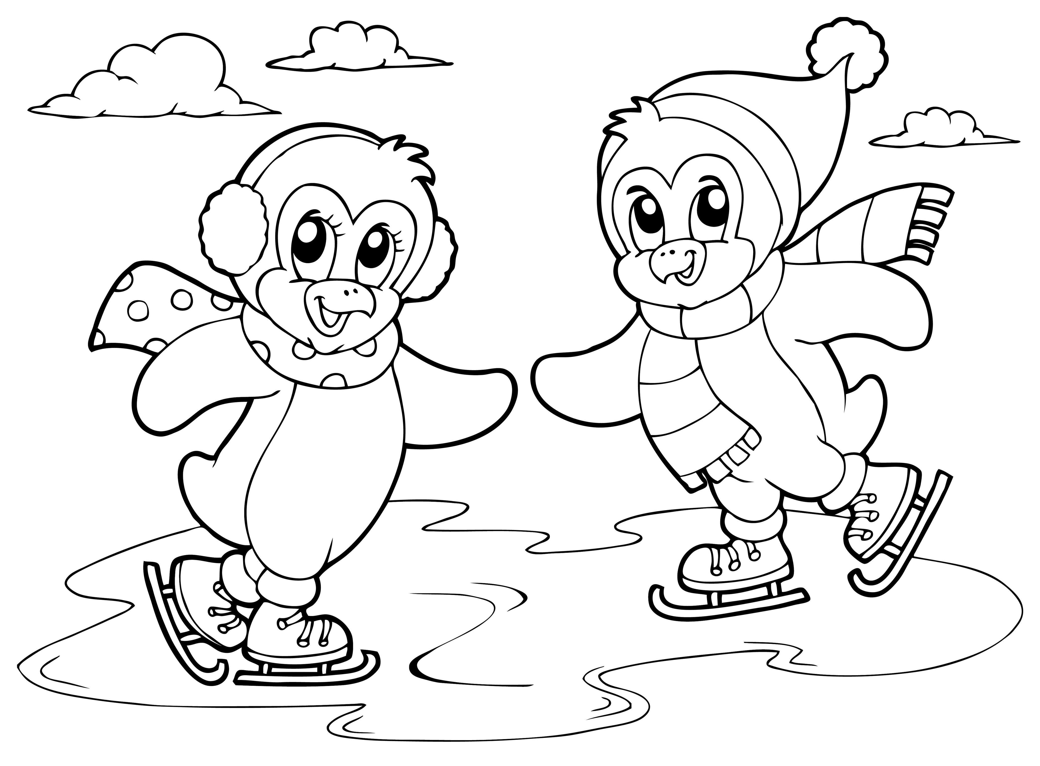 Pingüinos patinando