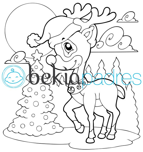 Pequeño reno en Navidad: dibujo para colorear