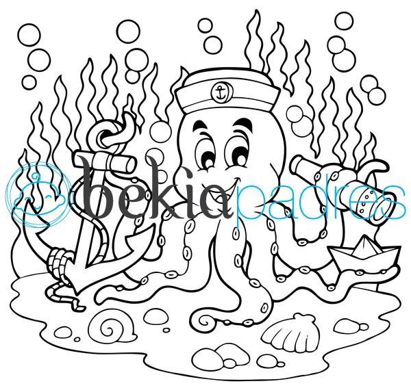 Pulpo debajo del agua: dibujo para colorear
