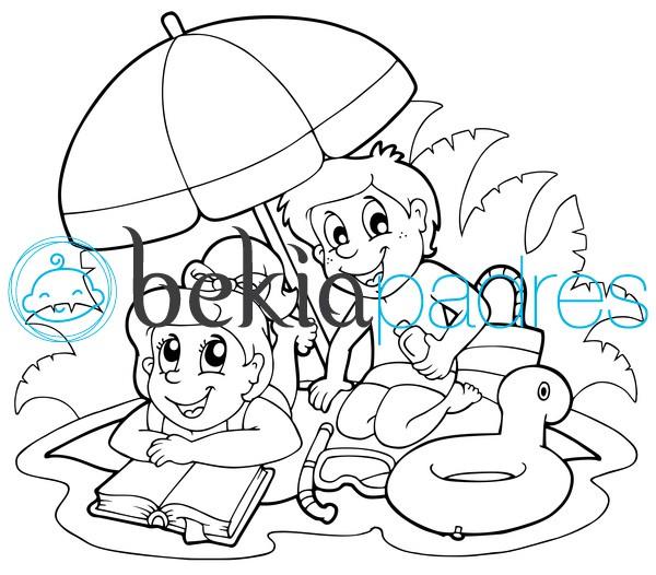 Niños en la playa: dibujo para colorear