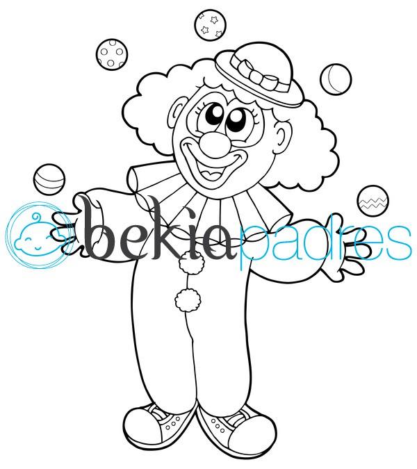 Payaso haciendo malabarismos: dibujo para colorear