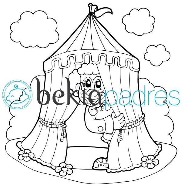 Payaso en el circo dibujo para colorear