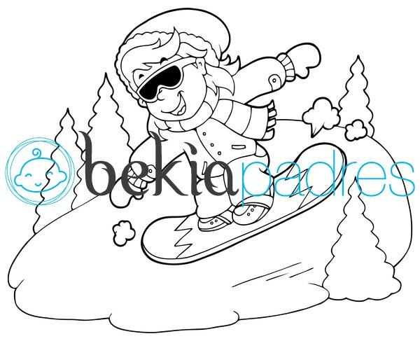 Snowboarding en la nieve para colorear