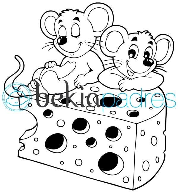 Ratones en el queso dibujo para colorear