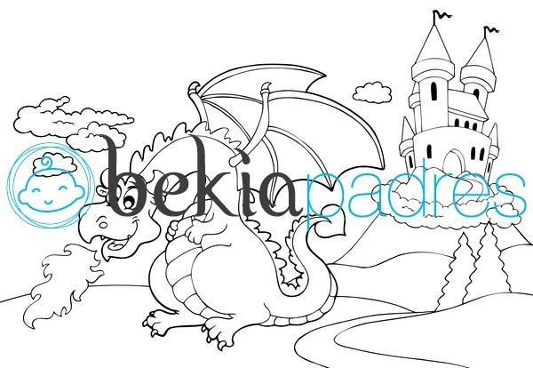 Castillo y dragón para colorear