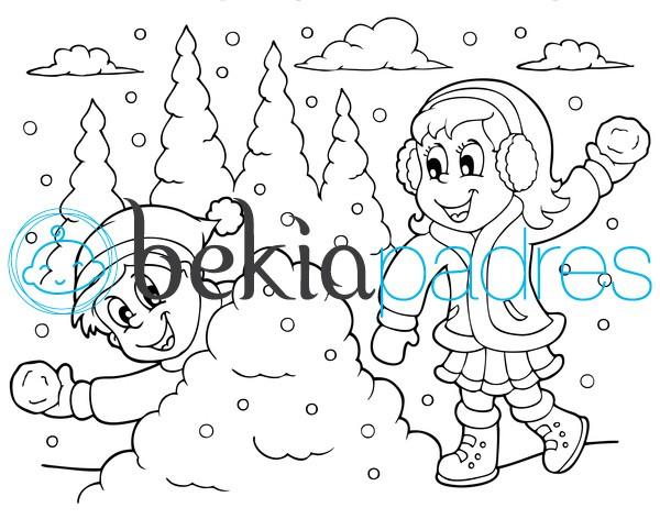 Lanzando bolas de nieve para colorear