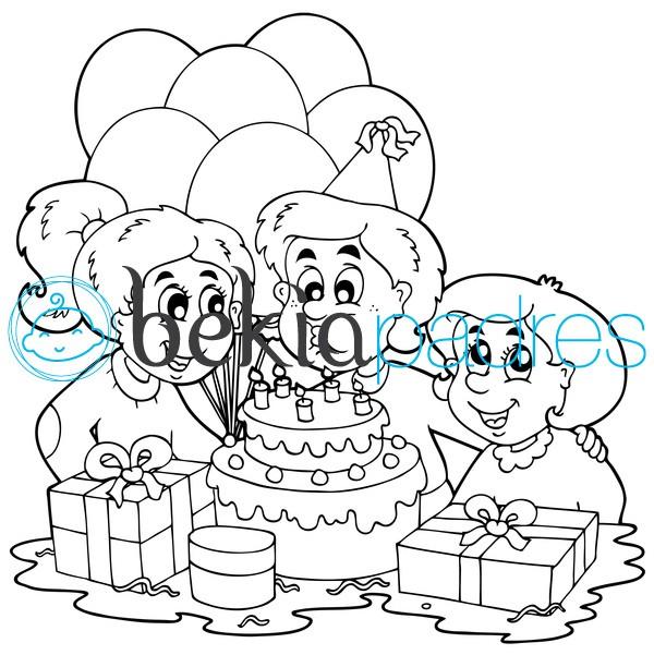 Soplando las velas de cumpleaños: dibujo para colorear