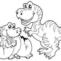 Mamá y bebé dinosaurio