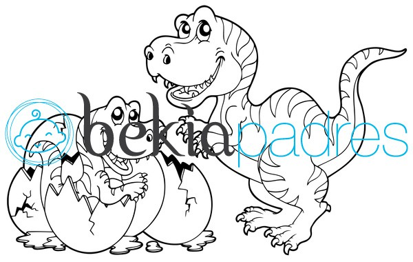 Mamá y bebé dinosaurio para colorear