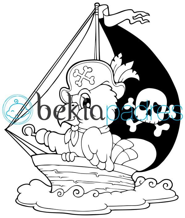 Pájaro en un velero pirata para colorear