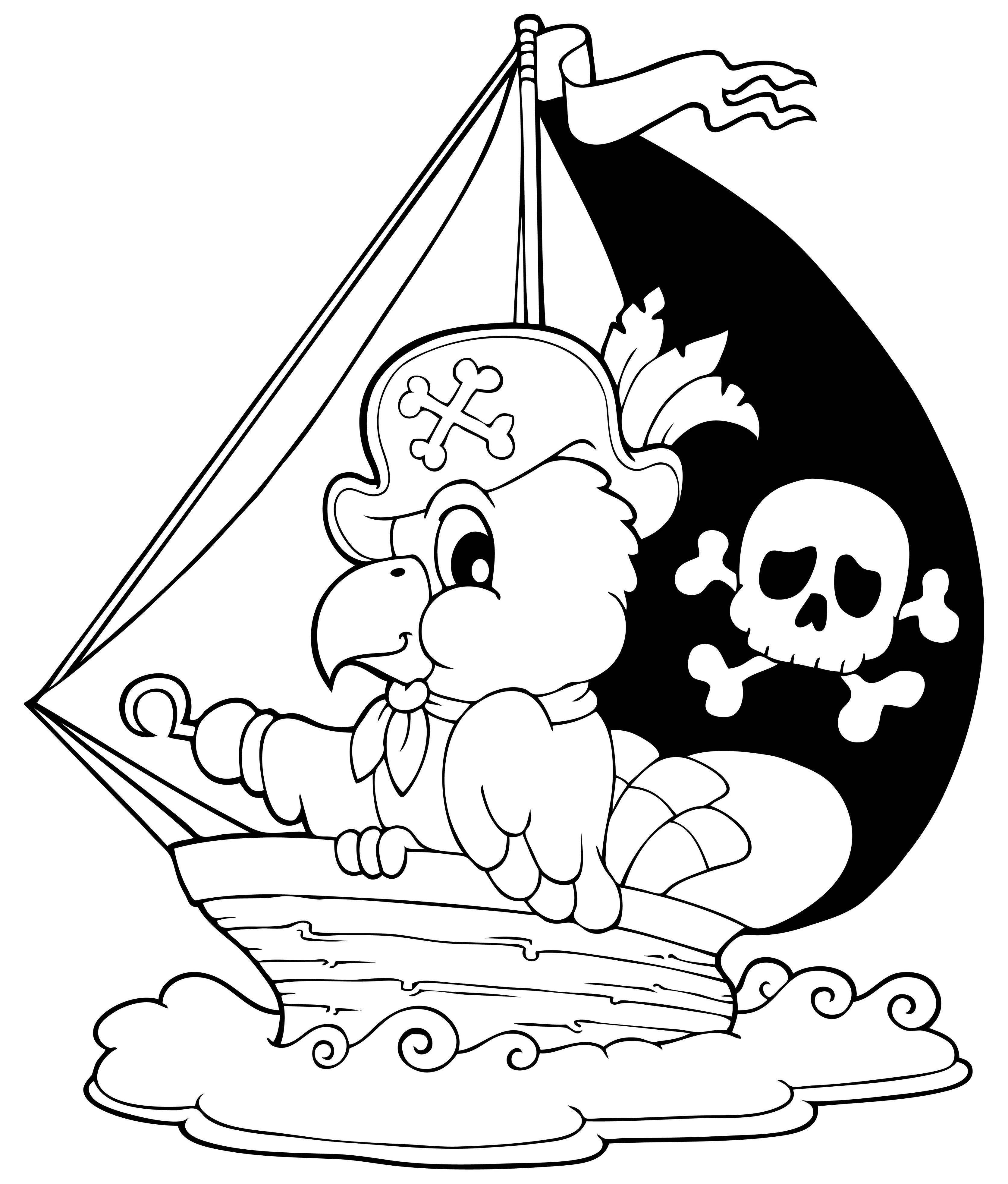 Pájaro en un velero pirata
