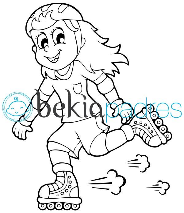Niña patinando: dibujo para colorear