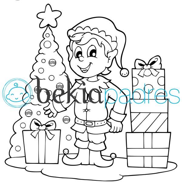 Duende de Navidad para colorear