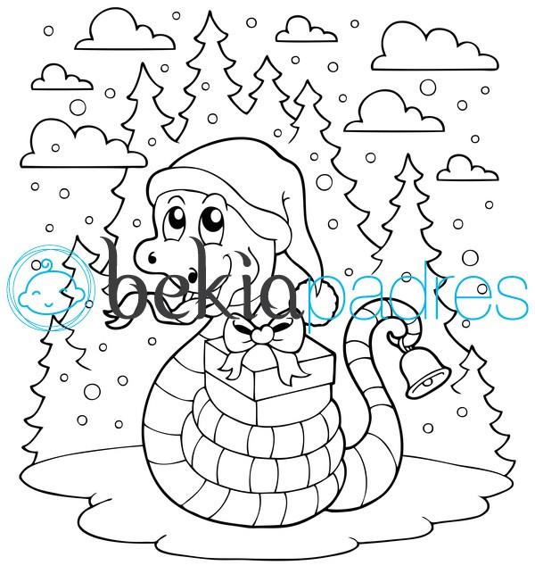 Serpiente navideña para colorear