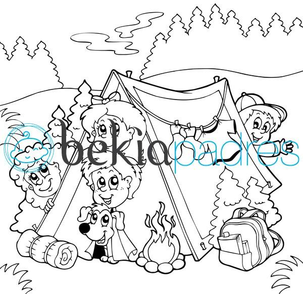 Tienda de campaña: dibujo para colorear
