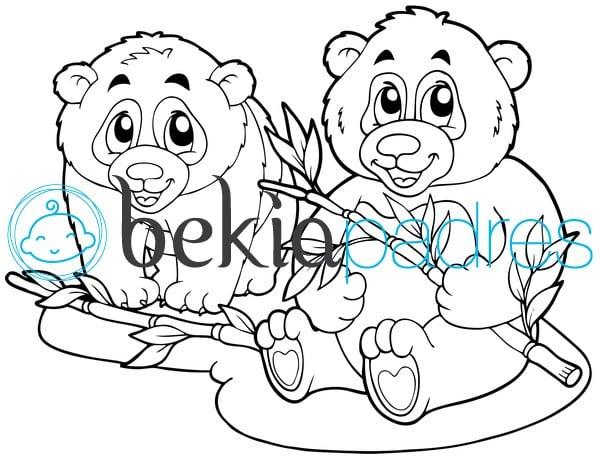 Dos osos con bambú para colorear