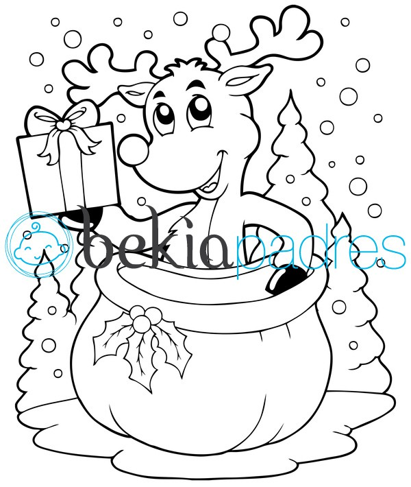 Reno de Navidad: dibujo para colorear