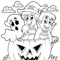 Fantasma, bruja, vampiro y calabaza de Halloween