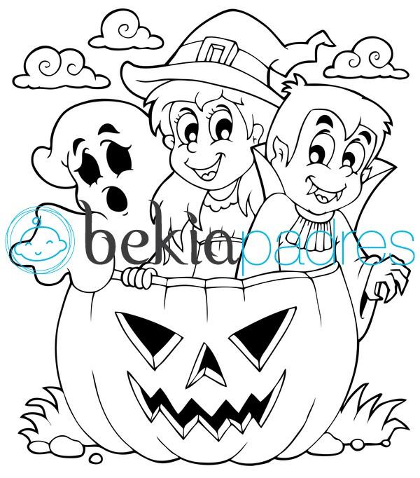 Fantasma bruja vampiro y calabaza de halloween dibujo para colorear - Calabazas para imprimir ...
