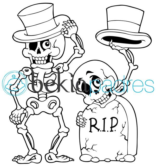 Esqueletos con sombrero en la tumba para colorear