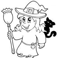 Bruja con un gato negro