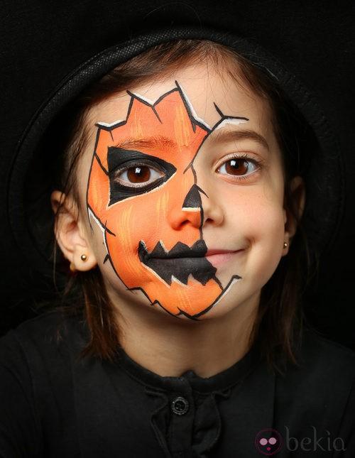 Maquillaje de calabaza de Halloween