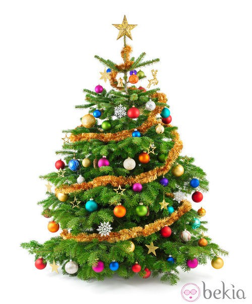 Árbol de Navidad con decoración multicolor