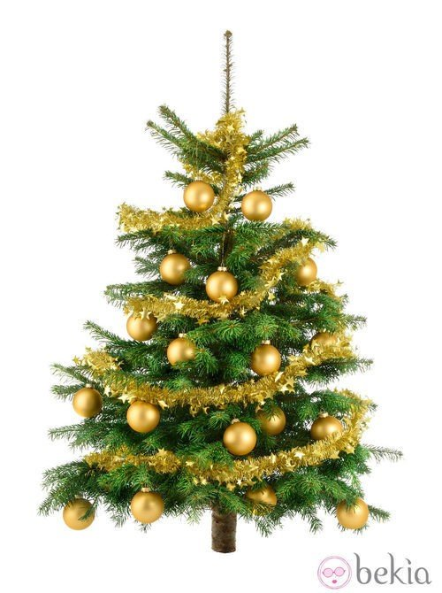 Árbol de Navidad con decoración dorada
