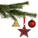 Árbol de Navidad con figuras en color rojo y dorado